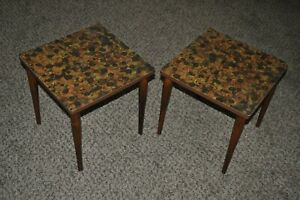 2 Vintage Mid Century 14 1 2 Sq Tables End Accent Plant Browns Atomic Formica