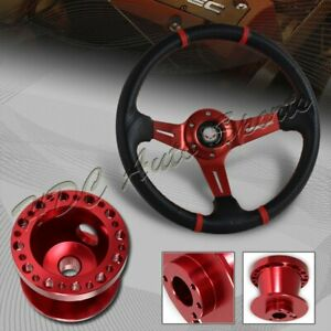 For 90 93 Acura Integra 350mm Red carbon Pvc Steering Wheel red Aluminum Hub