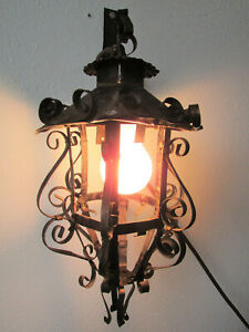 Antique Vintage Ornate Metal Light Fixture Hanging Wall Sconce W Bracket Works