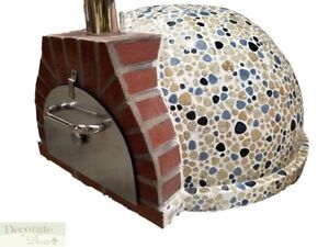 Pizza Oven Outdoor blue Mosaic Tile Brick Wood Coal Fired Bbq Grill Stone New