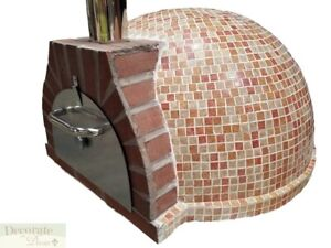 Pizza Oven Outdoor red Mosaic Tile Brick Wood Coal Fired Bbq Grill Stone New