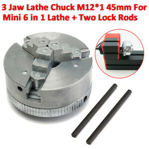 Metal 3 Jaw Lathe Chuck Self centering M12 1 45mm For Mini 6 In 1 Lathe 2 Rods