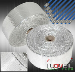 360 30ft Heat Wrap Shield Insulation Reduction Down Header Test Pipe Kit Silver
