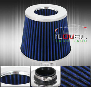 Blue Silver 4 Inlet High Flow Short Ram Cold Air Intake Filter For Mustang Gt
