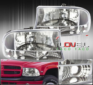 1997 2004 Dodge Dakota 1998 2004 Durango 1pc Crystal Headlights Clear Reflectors