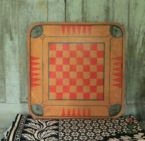 Birds Eye Maple Carrom Vintage Primitive Wood Wooden Checker Checkers Game Board