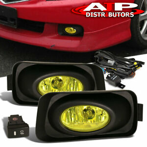 Amber Driving Bumper Fog Lights Lamps Wiring Switch For 2004 2005 Acura Tsx
