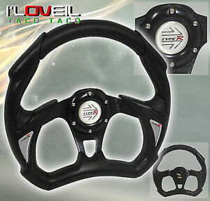 New Honda 320mm Jdm Battle Style Racing Steering Wheel Black W Horn Button