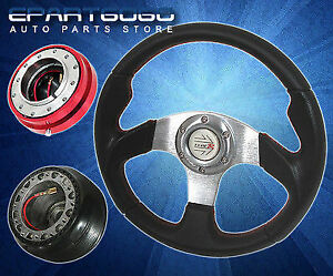 For 1989 1998 240sx 320mm Black Steering Wheel Adapter Hub Quick Release Red