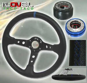 92 95 Civic Eg Blue black Steering Wheel Blue Short Quick Release Adapter Hub