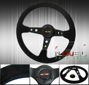 350mm Suede Leather Blue Stitch Steering Wheel God Snow Button 6 Bolts Hole Vip