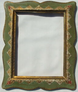 Vtg Florentia Florentine Italy Gilded Picture Art Frame Hand Painted Gold Green