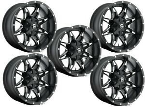 Set 5 22 Fuel Lethal D567 Black Milled Wheels 22x11 5 Lug 5x5 Jeep Truck 24mm