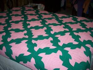 Antique Vtg Hand Stitched Pink Green Drunkard S Path Summer Quilt 69 X 85