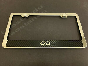 1xinfinilogo Stainless Steel License Plate Frame W carbon Fiber Style