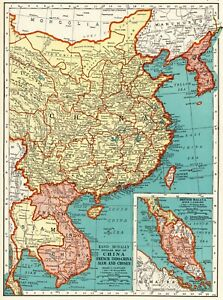 1937 Vintage Map Of China Antique Map Of Siam Thailand Indo China Chosen 6599