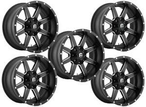 Set 5 22 Fuel Maverick D538 Black Milled Wheels 22x12 5x5 44mm Lifted Jeep Rim
