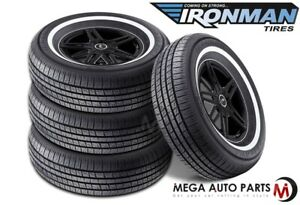 4 New Ironman Rb 12 Nws 225 70r15 100s White Wall All Season Performance Tires