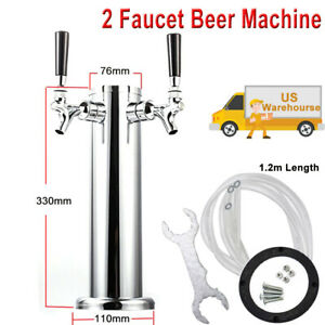 2 Tap Draft Beer Tower Stainless Steel 2 Faucet Kegerator 330mm Height 76mm Dia