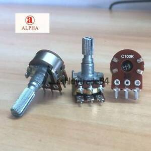 2x Alpha C100k 100k Ohm Dual Stereo Potentiometer Log Taper Pots 20mm Shaft