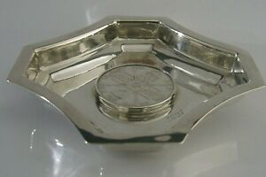Rare Solid Silver Victorian Double Florin Coin Medal Dish Heavy 84g