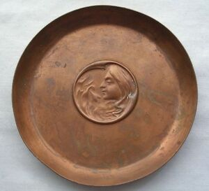 Small Signed Hand Crafted Art Nouveau Copper Dish Joseph Sankey