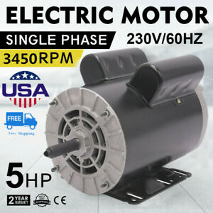 5hp 1phase 3450rpm 60 Hz Electric Air Compressor Duty Motor 56 Frame 7 8 shaft