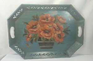 Vintage Shabby Chic Pilgrim Art No 148 Hand Decorated Toleware Butler Tray