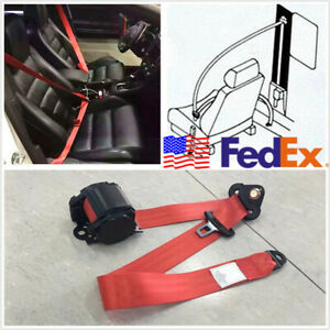 Usa Stock Polyester Retractable 3point Car Suv Seat Belt Lap Safety Seatbelt Red
