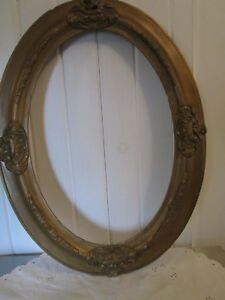 Antique Eastlake Victorian Carved Wood Gold Gilt Gesso Ornate Oval Picture Frame