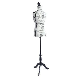 Female Mannequin Torso Dress Form Display W Black Tripod Stand Half length Lady
