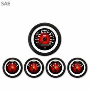 5 Gauge Set Sae Pulsar Red Black Street Rod Hot Rod Custom Truck Dash Mount