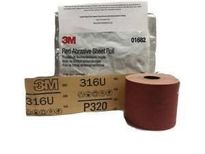 3m 320 Grit Red Stick It Sandpaper Continuous Sheet Roll Longboard Block 1682