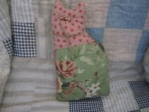 Primitive Quilted Cat Doll Coral Green