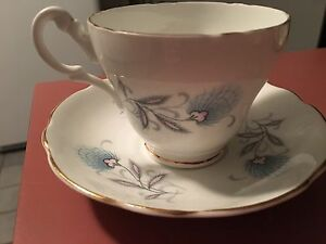 Royal Ascot Blue And Pink Floral Tea Cup And Saucer Bone China