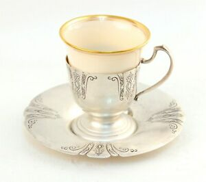 Scarce Towle Sterling Chased Diana Demitasse Cup Saucer Lenox Liner Set