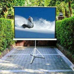100 Inch 4 3 Hd Projector Screen Tripod Stand Matte Pull Up Projection Screens