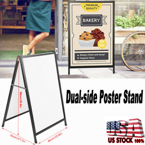 Heavy Duty A Frame Advertising Sign Board Double Side Poster Iron Stand 35 X24