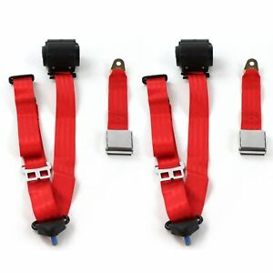 Amc Amx 1967 1974 Airplane 3pt Red Retractable Bucket Seatbelt Kit 2