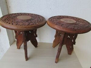 Highlands Oak Folding Stools 2 With Brass Inlays Hand Carved