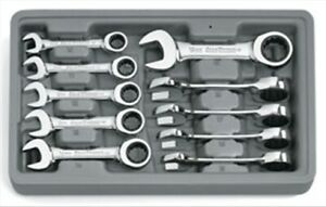 10 Pc Metric Stubby Combination Ratcheting Gearwrench Set Gearwrench 9520 Kdt