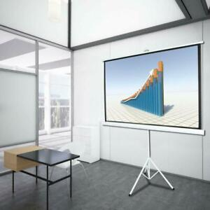 84 Inch 16 9 Hd Projector Screen Tripod Stand Matte Pull Up Projection Screens