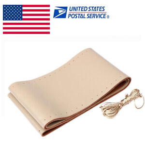 New Beige Genuine Leather Diy Car Steering Wheel Cover With Needles And Thread