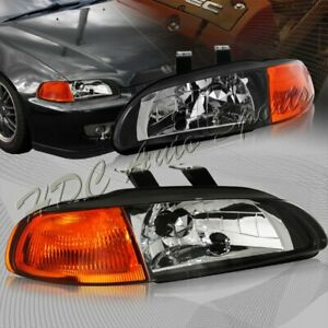For 1992 1995 Honda Civic Hatchback coupe Black Headlight W amber Reflector Lamp