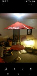 Coca Cola Umbrella And Bottle Cap Table Set. Great for the beach or tailgating