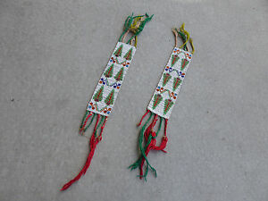 Pictorial Osage Beaded Arm Bands