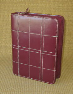 Compact 1 25 Rings Red Leather Accent Stitch Franklin Covey Planner binder