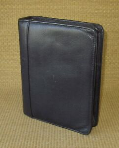 Compact 1 5 Rings Black Leather Franklin Covey quest Zip Planner binder