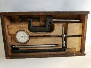 Vintage Starrett No 196a Dial Test Indicator Set W Wooden Box Machinist Tool