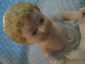 Antique Gebruder Heubach Piano Baby W Book Porcelain Figurine 23 114 Excellent